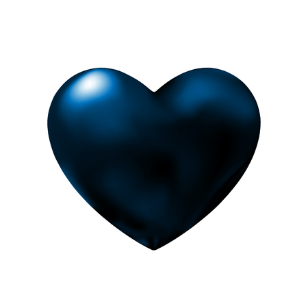 Dark blue heart abstract design element for Valentines day. Murky Icon abstraction in night. Vector illustration for graphic and web design, decorations. Eps10.