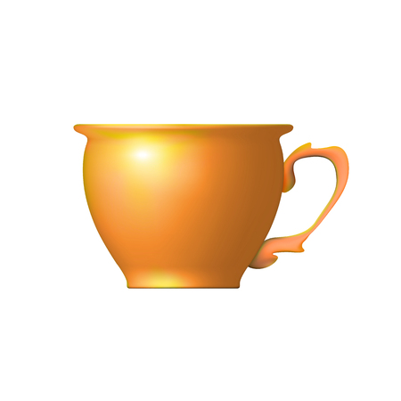 Realistic tea cup from clay orange isolated. Utensils suitable for traditional Chinese tea. Ceramics, pottery worked craft potters. Vector illustration for design. Eps 10. Ilustração