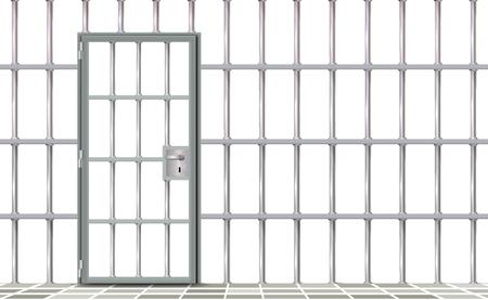 Ijzer interieur gevangenis, achtergrond. Grijze realistische deurgevangeniscellen modern. Banner vector gedetailleerde illustratie metalen rooster. Detentiecentrum metaal. Geïsoleerde manier, vrijheidsconcept raster, gevangenis. Vector Illustratie