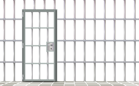 Iron interior prison, background. Gray realistic door jail cells bars modern. Banner vector detailed illustration metal lattice. Detention centre metallic. Isolated way, freedom concept grid, jail. Illusztráció