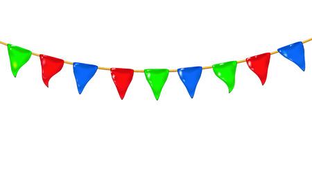 Garland 3d brillant petits drapeaux ou fanions par une corde, suspendus pour les vacances, jouet en plastique réaliste pour les enfants. Concevoir une illustration vectorielle d'icône brillante isolée. Amusement coloré enfantin. RVB Eps10.