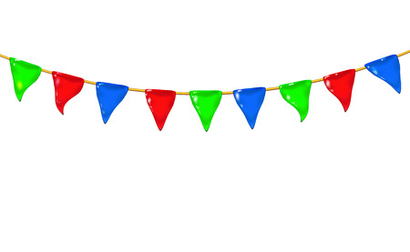 Garland 3d glossy little flags or pennants by a rope, hanging for holiday, realistic plastic toy for children. Design shiny icon vector illustration isolated. Childish colorful fun. RGB Eps10.