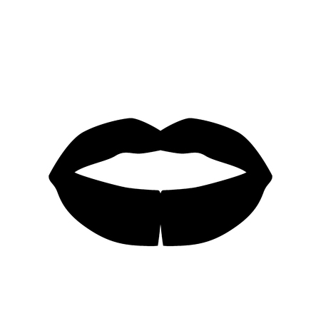 Black Lips Icon in trendy flat style isolated on light background. Mouth symbol for your web design, app, UI. Vector illustration. EPS10.