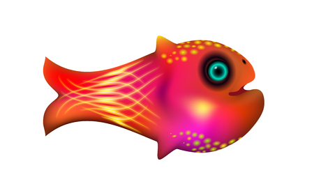 Red little fish. Cartoon funny life illustration of sea animal symbol. Marine stock. Optimized from to be used in banner design, this illustration of a happy cartoon character. Vector Eps 10.