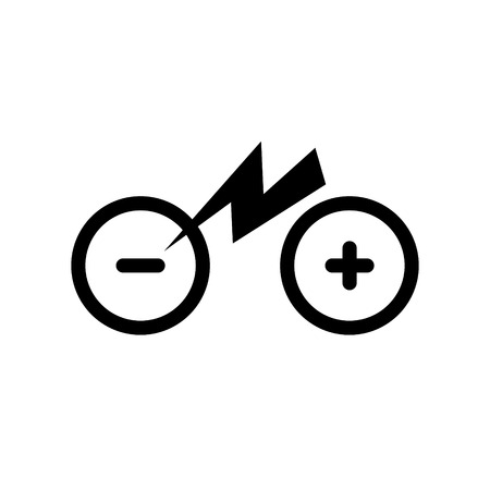 Icon isolated city electric bike. Trekking e-bike symbol line silhouette with electricity flash lighting thunderbolt sign. Designation of Parking Charge the battery. Eps10.