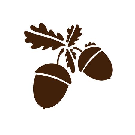 Zwei Eichel-Symbol isoliert. Vektormusterkunstblätter und -früchte. Vektorillustration für Logo, Designkonzepte, Schnittstellen, Apps oder Anzeige. Dekoration Eps10. Logo