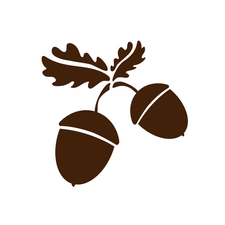 Two Acorn icon isolated. Vector patern art leaves and fruits. Vector illustration for logo, design concepts, interfaces, apps or ad. Decoration Eps10.