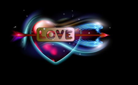 La flecha de fantasía roja brillante de Cupido atravesó el amor de inscripción, corazón. Atributo de Amur del amor del día de San Valentín, etiqueta de metal con tornillos. Ilustración de vector de diseño colorido resplandor de lujo iluminado ardiente.