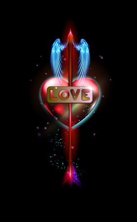 Glowing red fantasy arrow of Cupid pierced inscription love, heart. Amur attribute of Valentines day love, metal label with screws. Ardent illuminated, luxury glow colorful design vector illustration.