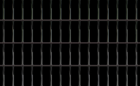 Dark background prison iron interior. Black jail cell modern with bar. Banner vector detailed illustration metal lattice. Detention centre cell metallic. Isolated way, freedom concept grid. Eps 10. Illustration