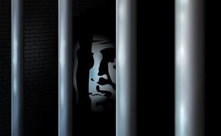 Prisoner and prison cell. Alone in jail behind bars. Felony committed crime or bankrupt. Business criminal serve their sentence in locked prison. Vector illustration. Eps10. Shadow and darkness. Illustration