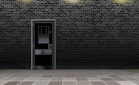 Trend european prison interior, dark background. Jail modern with metal door.