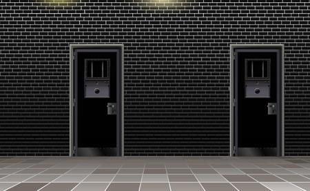 Trend european prison interior, dark background. Jail modern with two metal door.