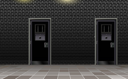 Trend european prison interior, dark background. Jail modern with two metal door.