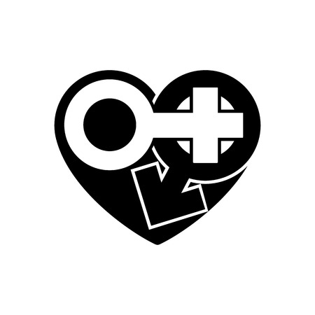 Gender icons in black heart. A symbol of love.