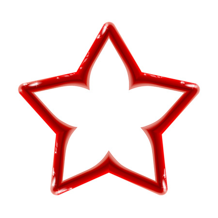 Realistic isolated glossy red sign of star icon for decor on light background.