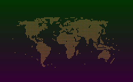 World map from spot particles or circles orange color. Background texture pieces or splashes of abstraction imitation grunge textures for design. Eps10. Vector illustration on dark backdrop.