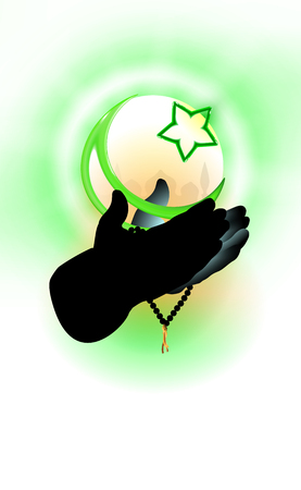 Hands of a Muslim who prays, faith concept. Islamic religion crescent and star, green tones illustration. Design religious supporting.