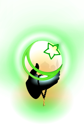 Hand of a Muslim who hold in hands crescent and star. Ilustração