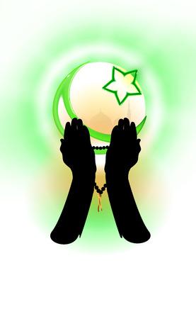 Hands of a Muslim who prays, faith concept. Ilustração