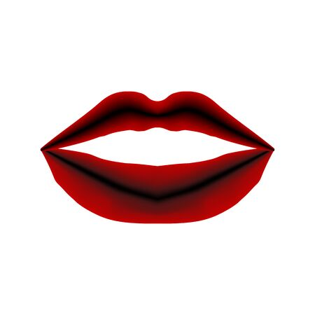 Red lips silhouette close up isolated. Vector illustration kiss.
