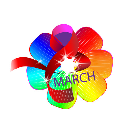March 8 womens day greeting in cartoon style with red ribbon, curved eight, multicolor flower and lettering text sign isolated on light background Vector illustration.  イラスト・ベクター素材