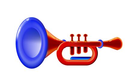 Realistic 3d red isolated glossy wind musical instrument - trumpet sign, icon for decoration or holiday, presentation on light background. Bright toy plastic. Childish design.