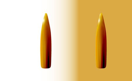 Two isolated gold bullets rifle, 3d realistic , golden or brass on light background, firing part of the cartridge, shot vector illustration.