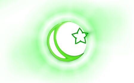Glossy star and crescent moon, Abstract blurred background with light bokeh. Vector illustration. Symbol islamic religious sign for concept web and apps elements design. Website development, app.