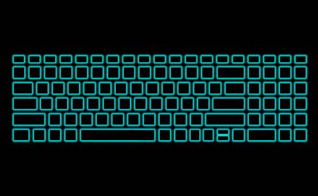 Computer keyboard with neon backlight on black background. Modern fluorescent design for banner. Vector luminescent illumination art illustration. Light glowing silhouette pattern, template top View.