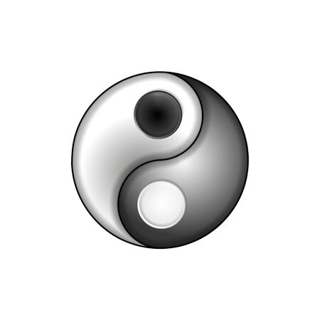 Yin and yang button icon in silver, metal frame. Vector illustration Eps 10. For design and decoration, ui or app. Spiritual relaxation of modern metallic cosmic for yoga meditation.