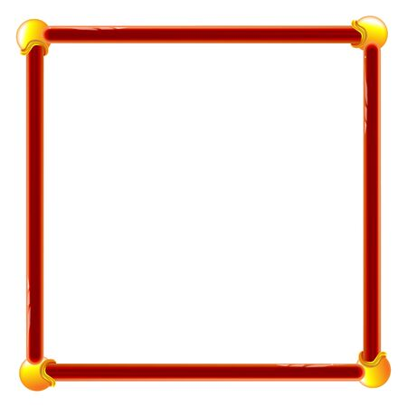 Plastic frame red for wall vector backdrop design. Toy volumetric. Edging for photos and presentations illustration.