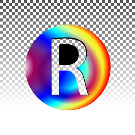Decorated circle register Trademark symbol isolated. Vector illustration. Business company logo. Eps 10.