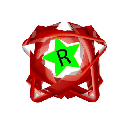 Decorated register Trademark symbol red isolated. Vector illustration. Business company logo. Eps 10.