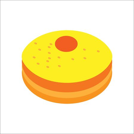 Isometric flat hanukkah Sufganiyah, jewish holidays icon. Illustration of element for hanukkah in vector. 向量圖像