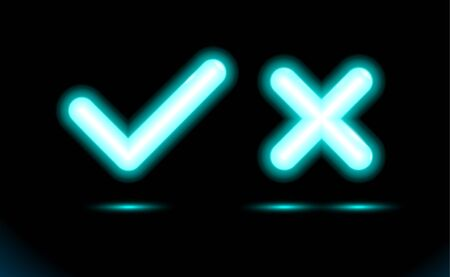 Neon set blue lamp checkmark and crosshair icon tick symbol. Modern ornamental ui. Fluorescent design for dark presentation, black banner, background. Vector luminescent illumination ad, illustration. 矢量图像