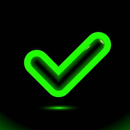 Luminescent green checkmark icon, tick symbol. Modern ornamental ui element. Design for presentation or dark ad fluorescent banner, black background. Vector luminous illumination ad, illustration. 向量圖像