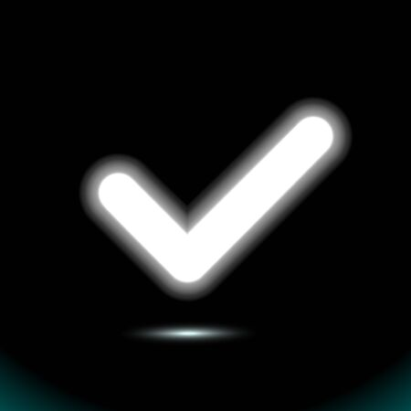 A glowing white lamp checkmark icon, tick symbol. Modern ui element. Fluorescent Design presentation, for any background. Vector luminescent illumination ad, illustration.