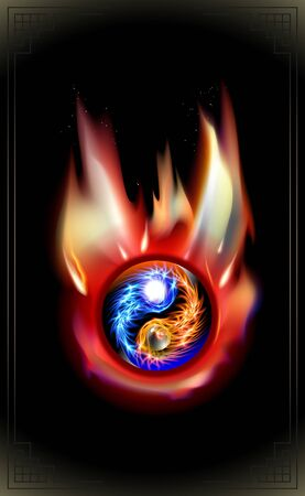 Burning Fire, glowing blue, red cosmic concept Yin and Yang mandala. Fiery heat spiritual relaxation. Flames symbol glow design. Vector bonfire illustration sparks effect isolated on black background.