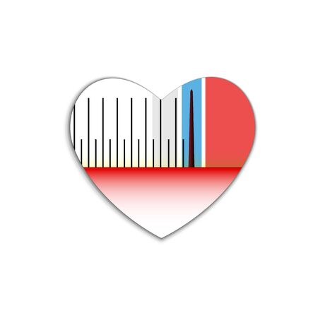 Power Scale of sound measurement in decibels, old style in heart icon. Red symbol Valentines day sign, emblem. Vector Flat style for graphic and web design