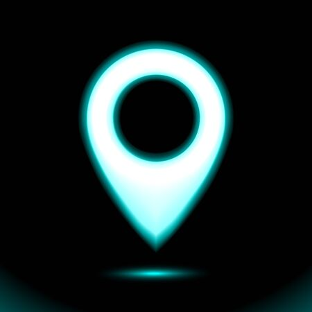 Blue Neon map location pointer icon. Lamp marker symbol, sign button light, symbol for design on black background. Fluorescent object. Dark ad, vector luminescent illumination, illustration Ui. Stock Illustratie