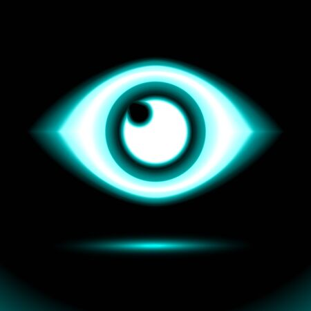 Blue Neon eye icon. Lamp, sign button light, symbol for design on black background. Fluorescent object. Glow dark ad, vector luminescent illumination, illustration Ui. Illusztráció