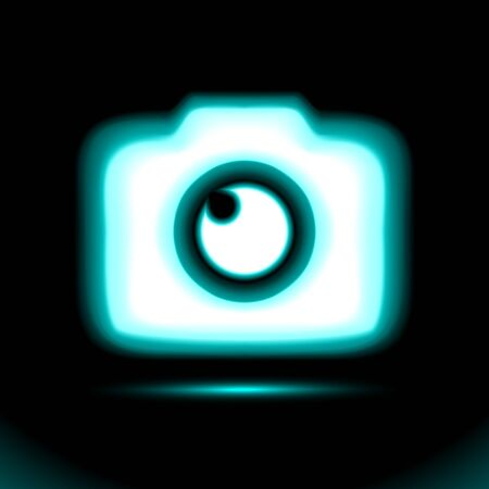 Photo camera Blue glowing Neon icon. Lamp, sign button light, symbol for design on black background. Fluorescent object. Glow dark ad, vector luminescent illumination, illustration Ui.