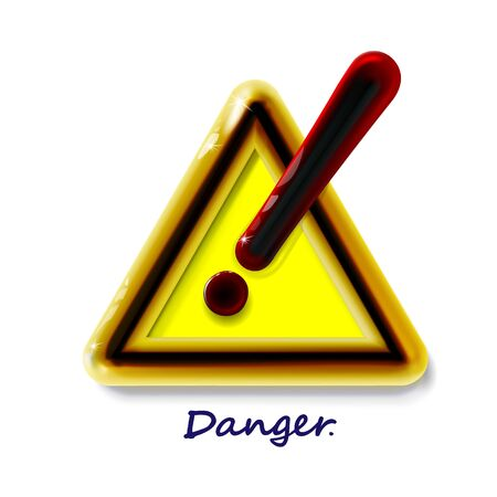 Hazard warning attention sign with exclamation mark symbol. Luxury icon realistic 3d plastic yellow modern glossy danger in light backdrop. Isolated, in triangle for design, vector illustration Illusztráció