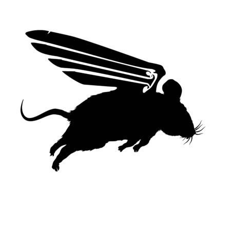 Mouse funny with wings flying, black silhouette. Vector fluffy illustration on light background. Cute, isolated rodent character for designers and decoration. Pattern stencil.