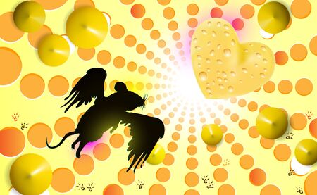 Background funny fluffy mouse with wings flies for cheese, silhouette. Vector illustration on light yellow. Cute rodent character for designers decoration. Heart made of cheese, delicious shape love.