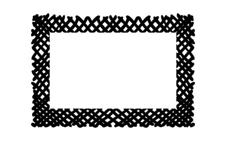 Scribble hatching criss cross along the rim frame rectangle. Hand drawn symbols. Sketches shaded and hatched badges and stroke shapes. Monochrome vector design elements. Isolated illustration.