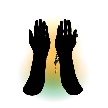 Hands of a Muslim who prays, the vector on a white background. For Hajj, Umrah, Ramadan, Arafat, Prayer. Vector illustration. Standard-Bild - 129243144