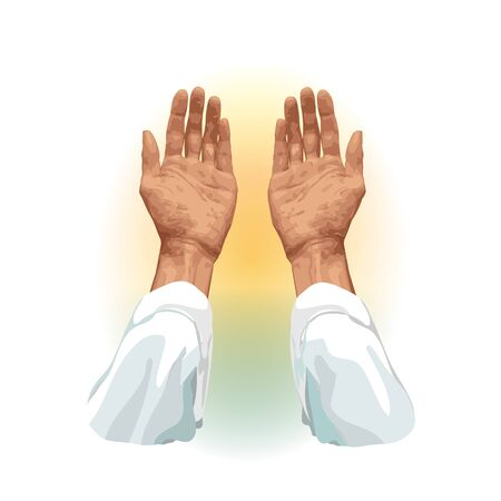 Hands of a Muslim who prays, flat vector on a white background. For Hajj, Umrah, Ramadan, Arafat, Prayer. Vector illustration.