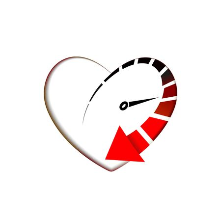 Heart Speedometer icon with arrow speed, RPM  icon. Racing test symbol Vector Template love and Valentines day sign, emblem. Graphics internet illustration of internet for web design.